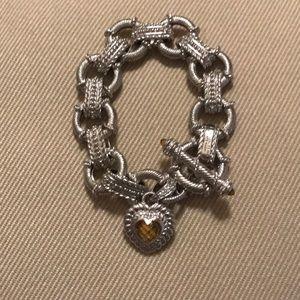 Judith Ripka Sterling Link Bracelet/Citrine Heart